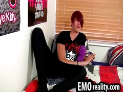 emo teen removes his jeans to play his cock