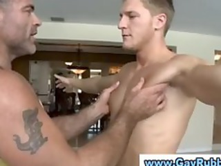 fresh straight guy gets a massage from a gay hunk