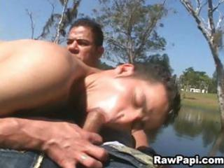 latino gay face fucking in pool