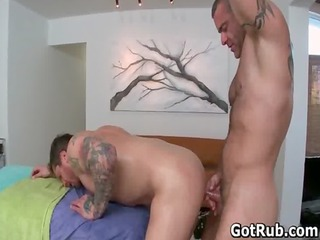 tattooed hunk takes his smooth ass rimmed gay