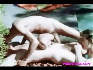 vintage poolside twink gay group sex