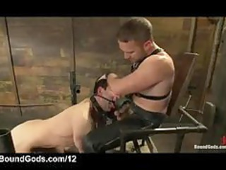 master in leather gets fellatio from gagged gay