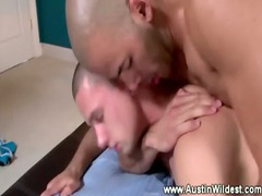 gay jock eagerly backs up on his uneasy cock for