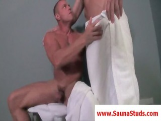 blond gay gives mouth sex inside a 3some