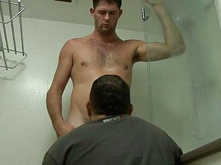 gay hunk takes aroused into the bathroom