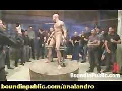 chained and bound slave public bdsm torture