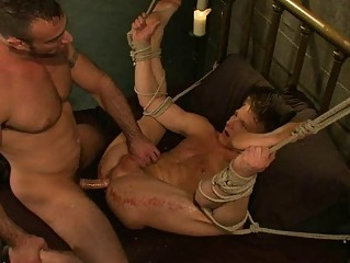 bound gay stud obtains banged