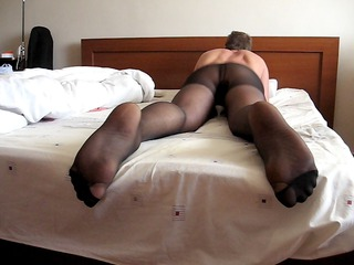 humping bunk in pantyhose