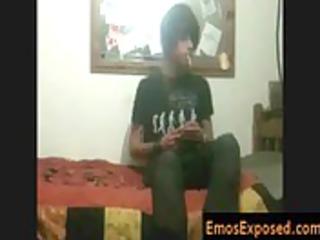 black hiared and smoking emo taking his hands