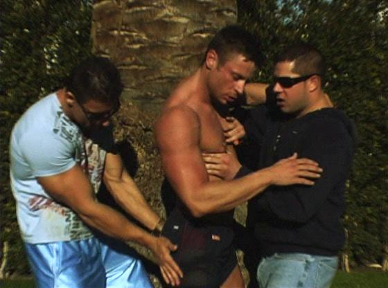 muscled gay stud takes involved inside gay triple