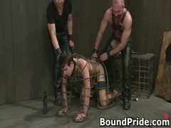 gay slave gets caged and butt electro gay video