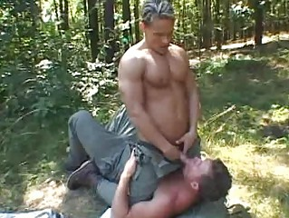 two muscled gay studs having pleasure public
