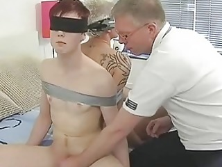 older  gay daddy ties two randy twinks and suck