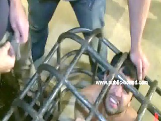blindfolded and tied up gay guy is used by