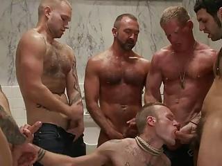handsome tattoed gay hunk had bondaged and gang