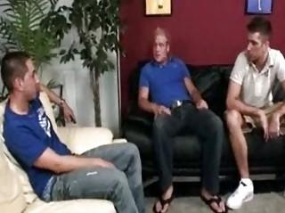 triple handsome gay guys having incredible three
