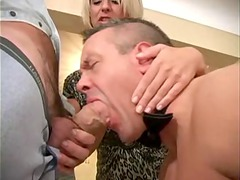 husband-slave is licking a boyfriend of his woman