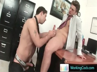 alex sucking and wanking his office mate by