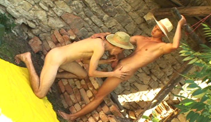 dirty gay cowboys suck and lick every others