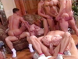 horny gay bunch  porn with muscled hunks at house