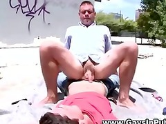 inexperienced outside twink gets a cumshot