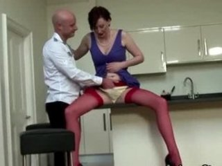 gay eats older  english lady into pantyhose cave