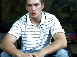 stiff muscular high school gay male jerks off his