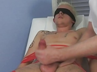 tied and blindfolded pale twink takes his dick