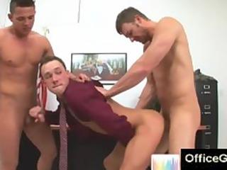 2 gay studs gang bang a fresh man at the bureau