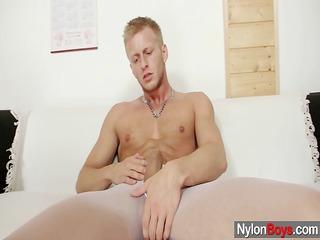 david masturbates in pantyhose till him cums on