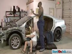 car mechanic sucking big black dick gay porn