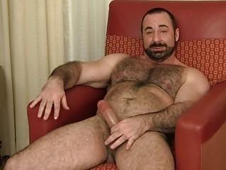bearded gay hunk jerks off his plump boner