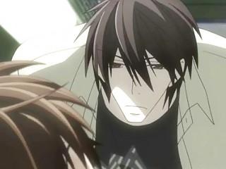 anime gay having a tongue kiss with his fucker