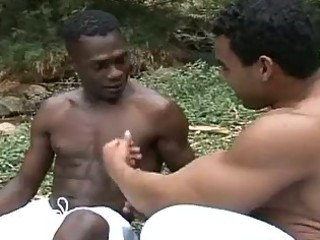 interracial gay bareback arse hammering session