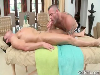 stud takes penis sucked during massage gay porn