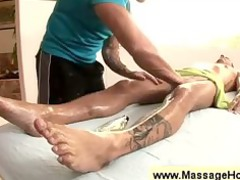 masseur gets a peek at a dudes cock