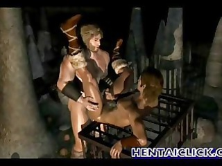 muscular anime gay gets super drilled