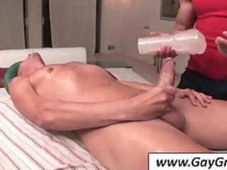 gay gives head to masseur