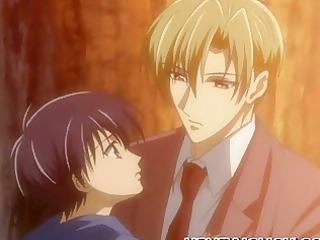 anime gay having their initial time kissing