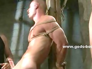 gay slave dressed simply  inside ropes bondage