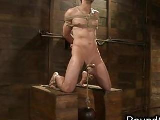 tied up gay had hanged weights on balls