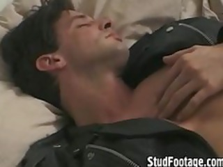 slutty biker gay guy massages his cock
