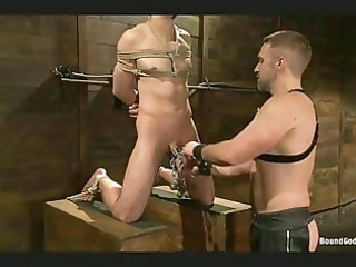 gay into bondage gets his dick tortured