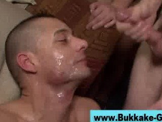 gay bukkake bunch  bottom gang bang and facial