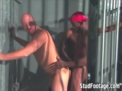 interracial gay fuck in a prison cell