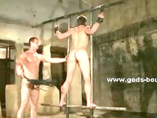 strong gay hunk tied in ropes bdsm fuck