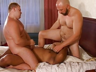 triple fat gay hunks having a awesome gang drill